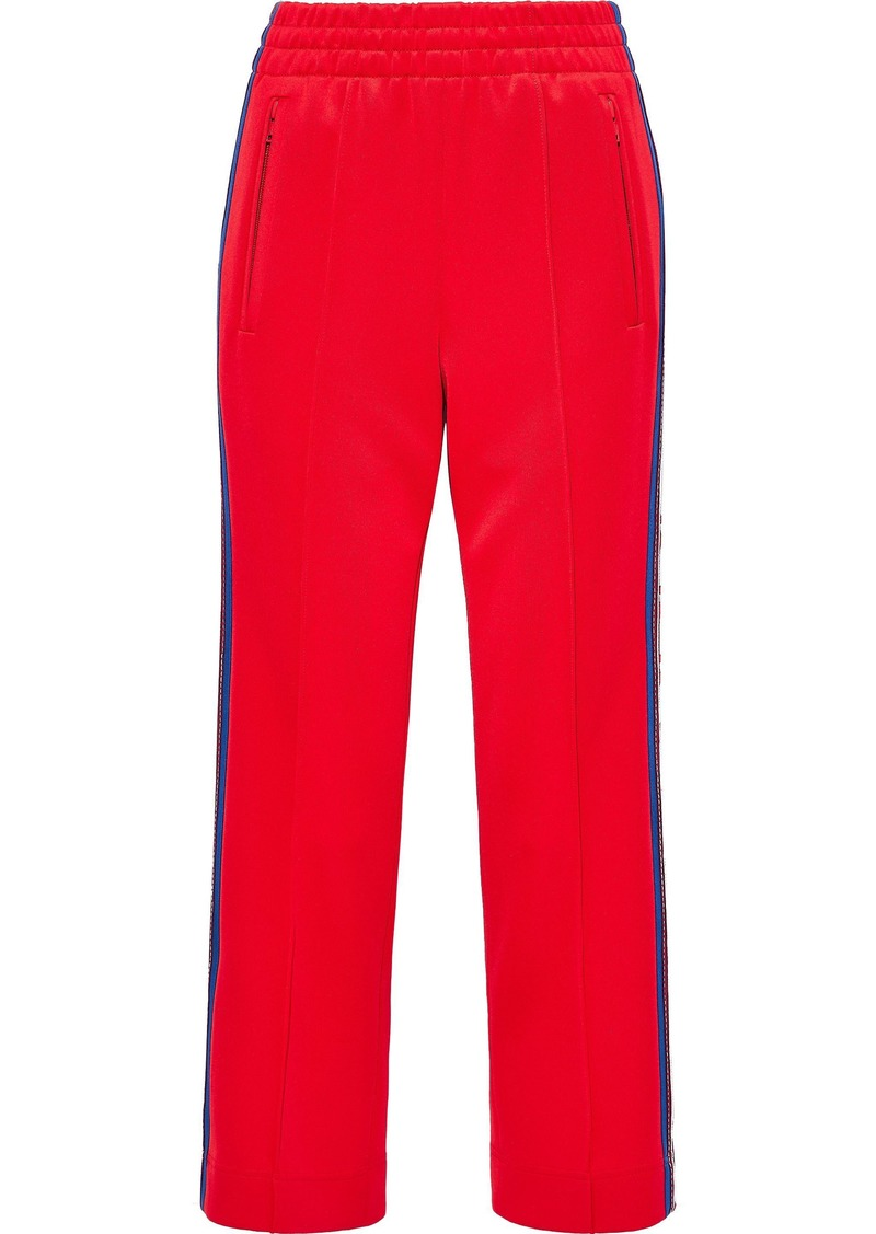 Marc Jacobs Woman Cropped Jacquard-trimmed Ponte Straight-leg Pants Red