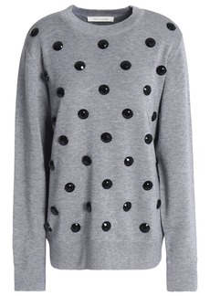 Marc Jacobs Woman Crystal-embellished Knitted Sweater Gray