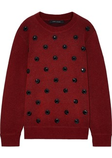 Marc Jacobs Woman Crystal-embellished Knitted Sweater Burgundy