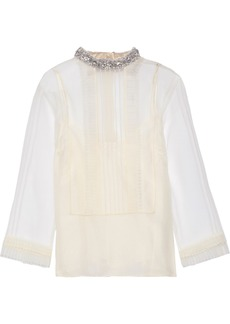 Marc Jacobs Woman Crystal-embellished Pintucked Crinkled-organza Top Cream