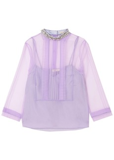 Marc Jacobs Woman Crystal-embellished Pintucked Crinkled-organza Top Lavender