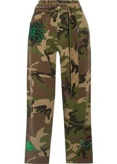 Marc Jacobs Woman Embellished Camouflage-print Cotton-twill Tapered Pants Green