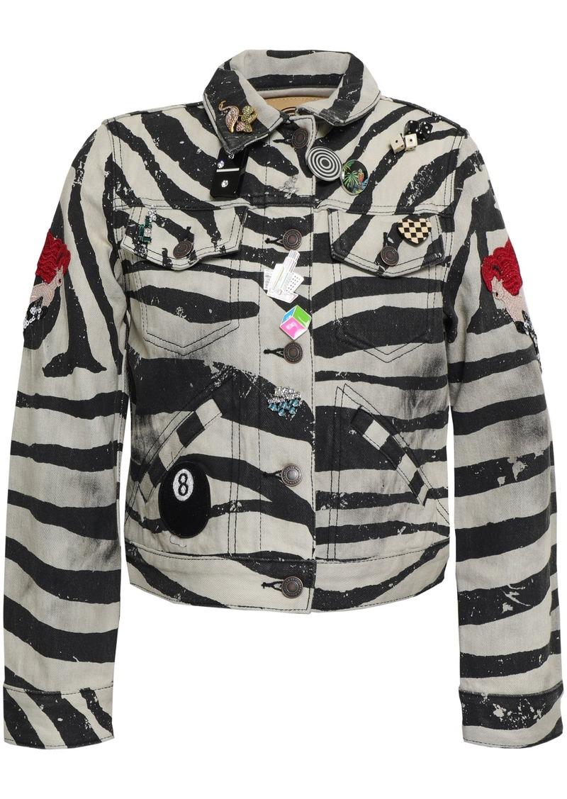 Marc Jacobs Woman Embellished Coated Zebra-print Denim Jacket Black