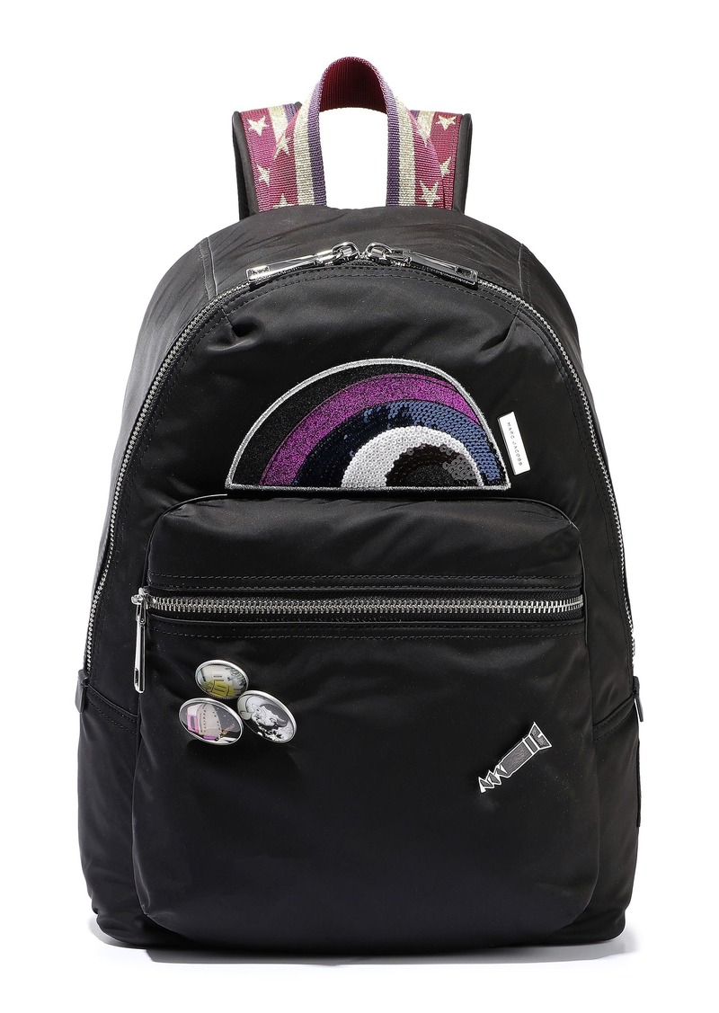 Marc Jacobs Woman Embellished Shell Mesh And Leather Backpack Black