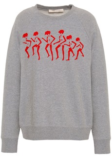 Marc Jacobs Woman Embroidered Flocked French Cotton-terry Sweatshirt Gray