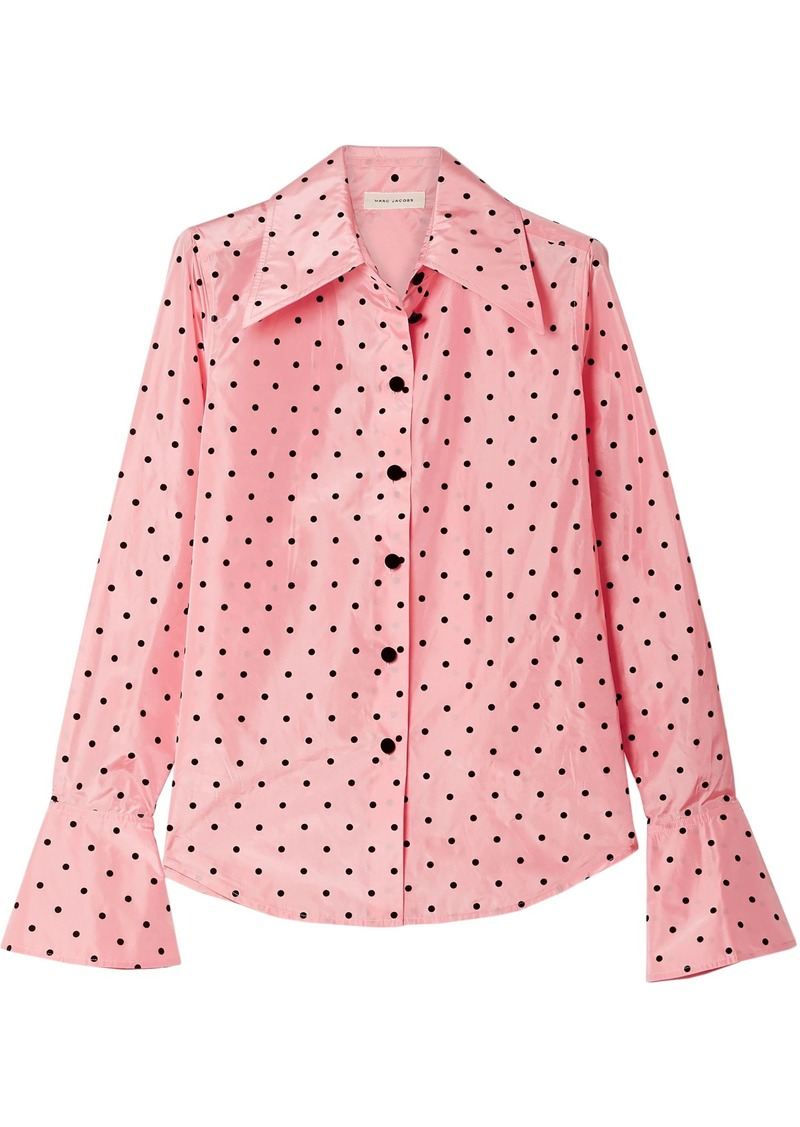 Marc Jacobs Woman Flocked Silk-taffeta Shirt Baby Pink