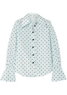 Marc Jacobs Woman Flocked Silk-taffeta Shirt Sky Blue