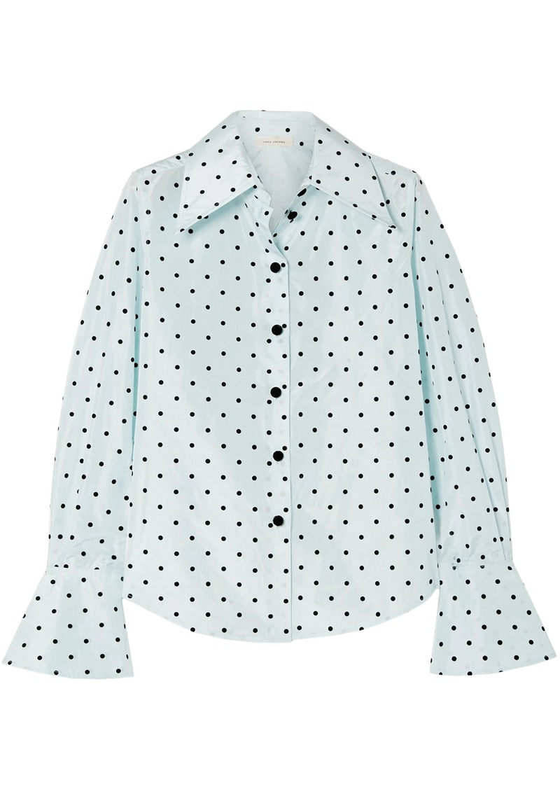 Marc Jacobs Woman Flocked Silk-taffeta Shirt Sky Blue