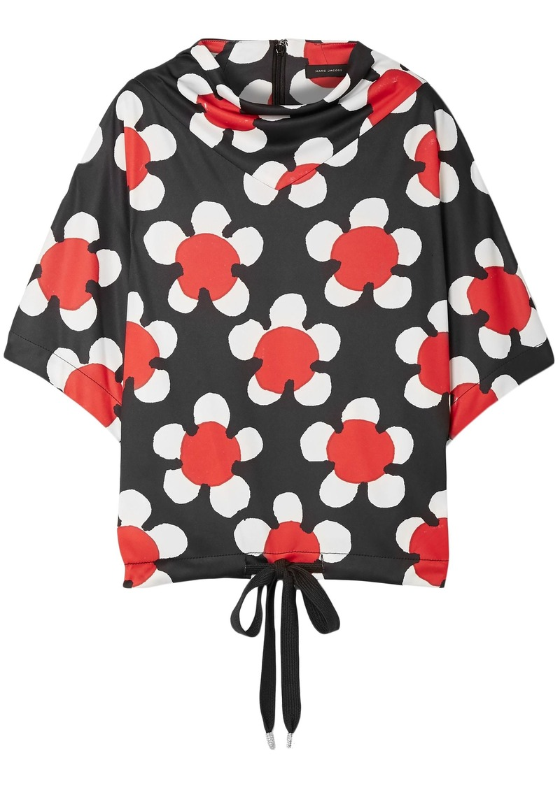 Marc Jacobs Woman Oversized Draped Floral-print Jersey Top Black