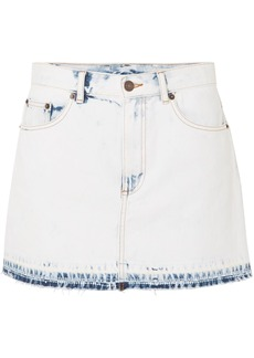 Marc Jacobs Woman Frayed Bleached Denim Mini Skirt Light Denim