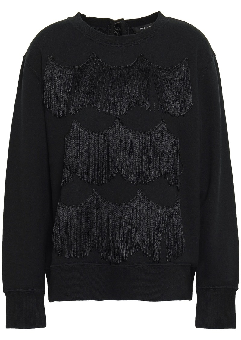 Marc Jacobs Woman Satin-trimmed Fringed French Cotton-terry Sweatshirt Black