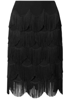Marc Jacobs Woman Fringed Silk-crepe Skirt Black