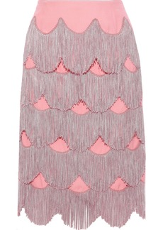 Marc Jacobs Woman Fringed Silk-crepe Skirt Pink