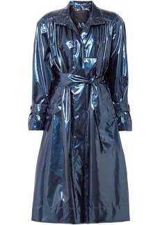 Marc Jacobs Woman Gathered Metallic Vinyl Trench Coat Cobalt Blue