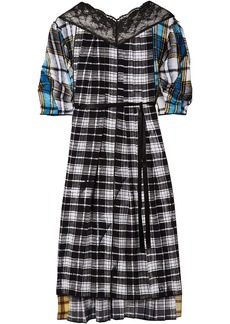 Marc Jacobs Woman Lace-trimmed Patchwork Checked Silk Crepe De Chine Midi Dress Black