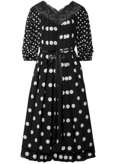 Marc Jacobs Woman Lace-trimmed Pleated Polka-dot Silk Crepe De Chine Midi Dress Black