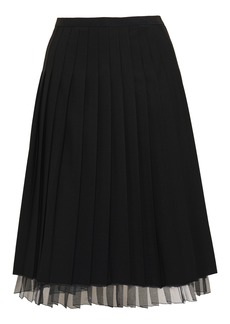 Marc Jacobs Woman Layered Pleated Organza And Wool-blend Skirt Black