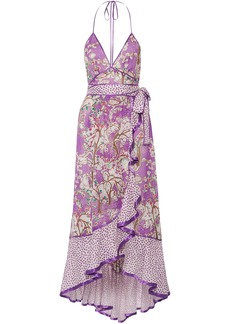 Marc Jacobs Woman Ruffled Printed Cotton And Silk-blend Halterneck Dress Lavender