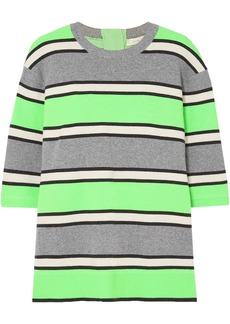 Marc Jacobs Woman Neon Striped Cashmere Top Lime Green