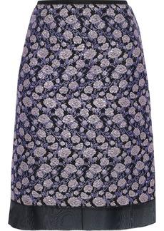 Marc Jacobs Woman Organza-trimmed Metallic Brocade Skirt Purple
