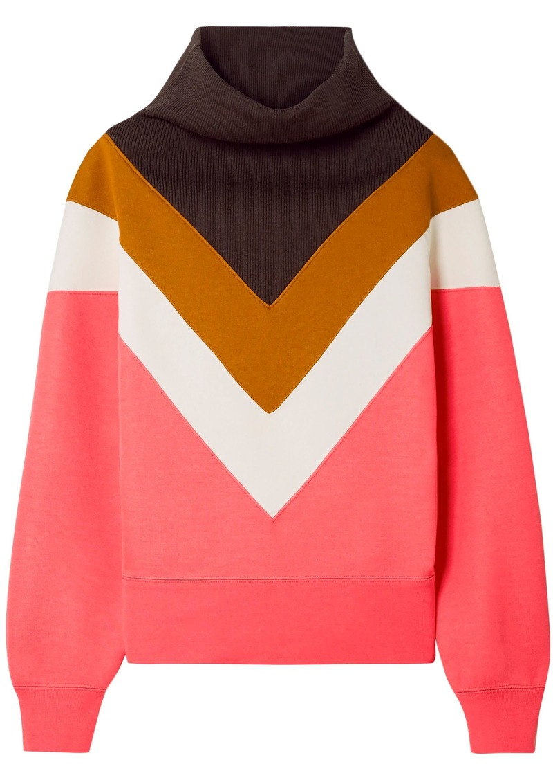 Marc Jacobs Woman Paneled Color-block Ribbed And Stretch-knit Sweatshirt Pink