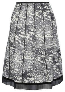 Marc Jacobs Woman Pleated Organza-trimmed Printed Silk Skirt Black