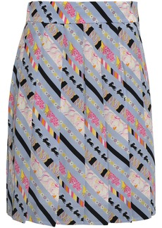 Marc Jacobs Woman Pleated Printed Silk Crepe De Chine Mini Skirt Light Blue
