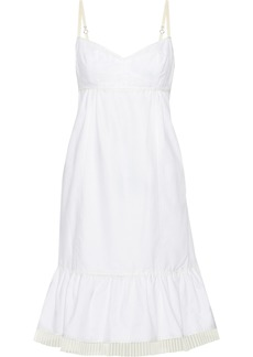 Marc Jacobs Woman Pleated Tulle-trimmed Cotton Oxford Slip Dress White