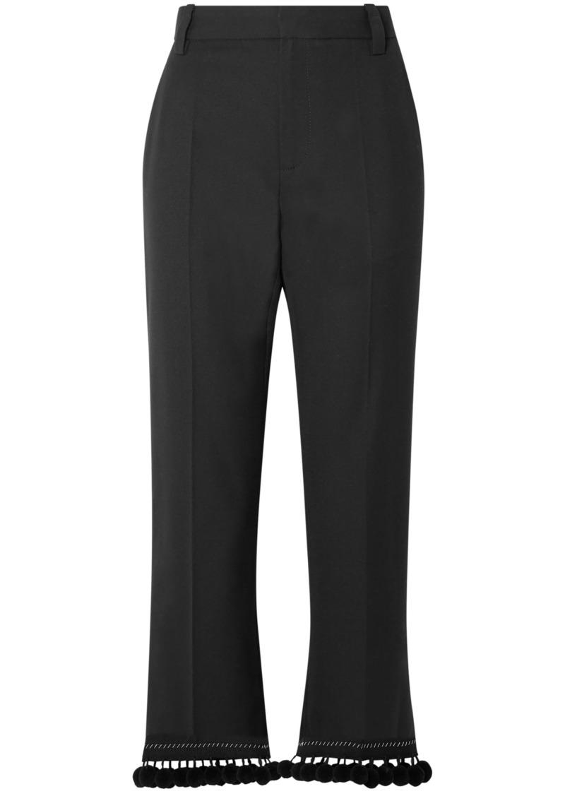 Marc Jacobs Woman Pompom-embellished Crepe Straight-leg Pants Black