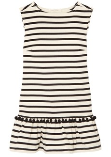 Marc Jacobs Woman Pompom-embellished Striped Cotton-jersey Mini Dress Ecru