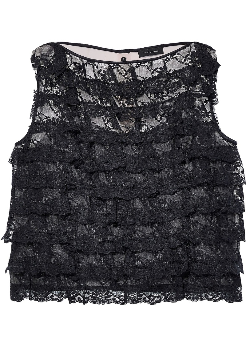 Marc Jacobs Woman Ruffled Lace And Textured-organza Top Black