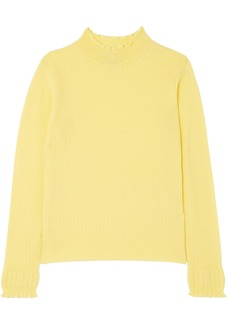Marc Jacobs Woman Ruffled Ribbed Wool Turtleneck Sweater Pastel Yellow