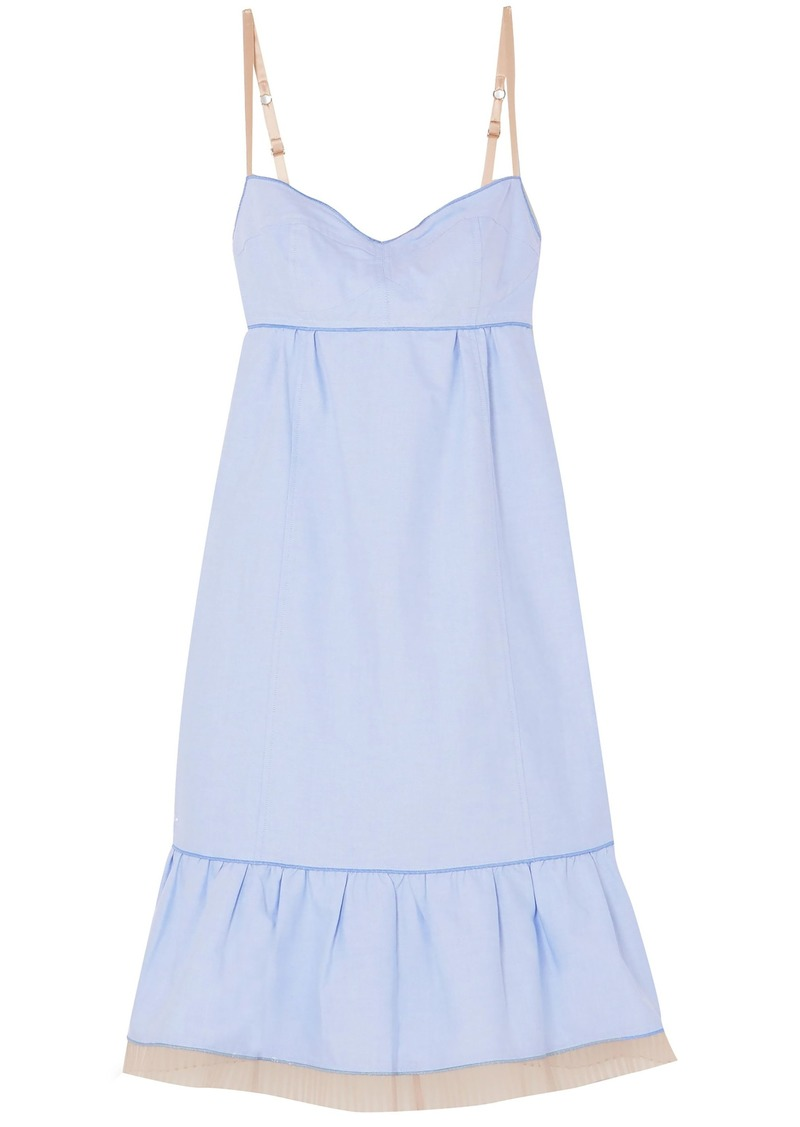 Marc Jacobs Woman Pleated Tulle-trimmed Cotton Oxford Slip Dress Light Blue
