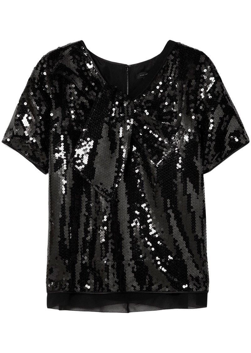 Marc Jacobs Woman Satin-paneled Sequined Georgette Top Black