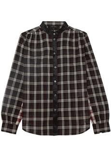 Marc Jacobs Woman Satin-trimmed Checked Cotton-gauze Shirt Black
