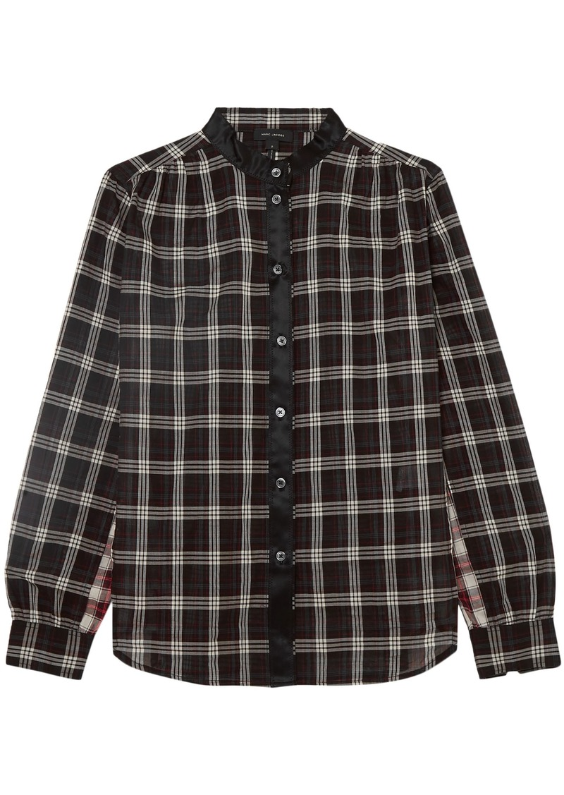 Marc Jacobs Woman Satin-trimmed Checked Cotton-gauze Shirt Black