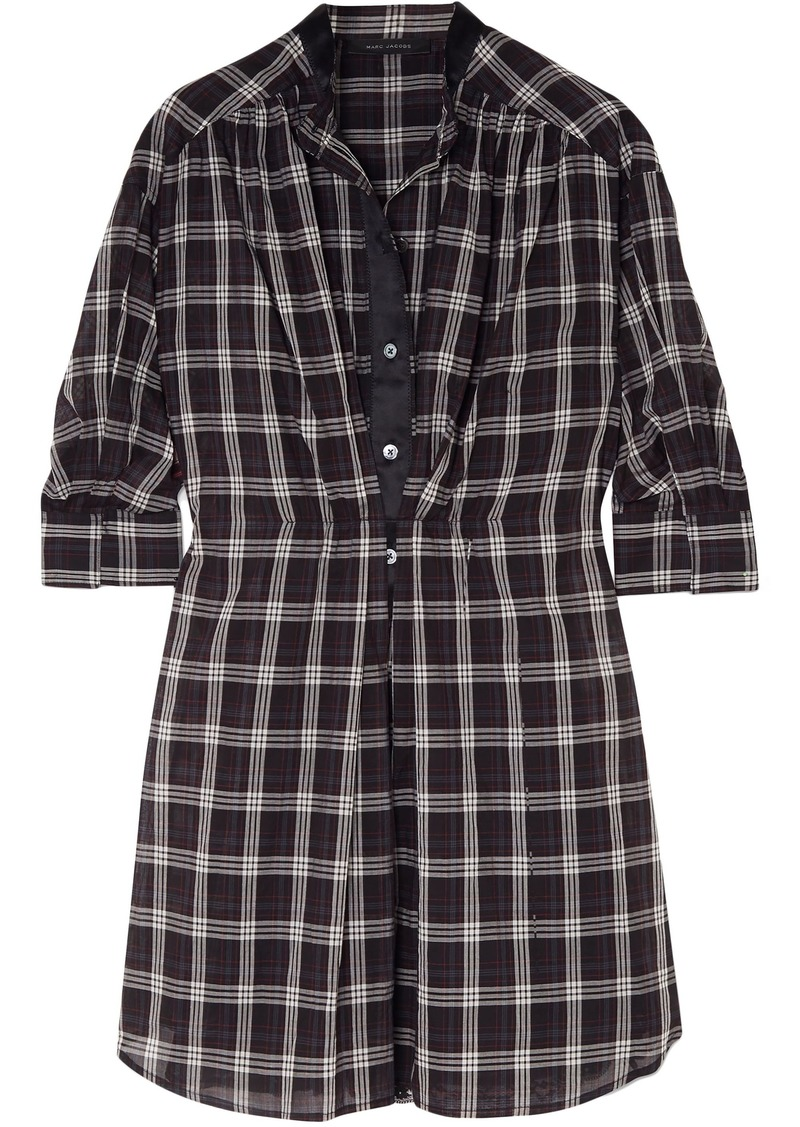 Marc Jacobs Woman Satin-trimmed Checked Silk-voile Dress Black