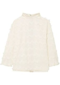 Marc Jacobs Woman Satin-trimmed Fringed Crepe Blouse Ivory