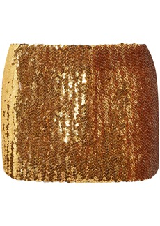 Marc Jacobs Woman Sequined Wool Mini Skirt Gold