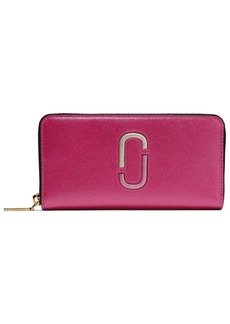 Marc Jacobs Woman Snapshot Embossed Two-tone Textured-leather Continental Wallet Fuchsia
