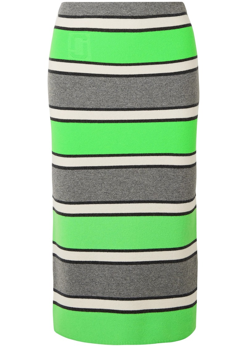 Marc Jacobs Woman Striped Cashmere Pencil Skirt Lime Green