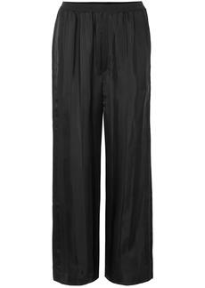 Marc Jacobs Woman Striped Satin-jacquard Wide-leg Pants Black