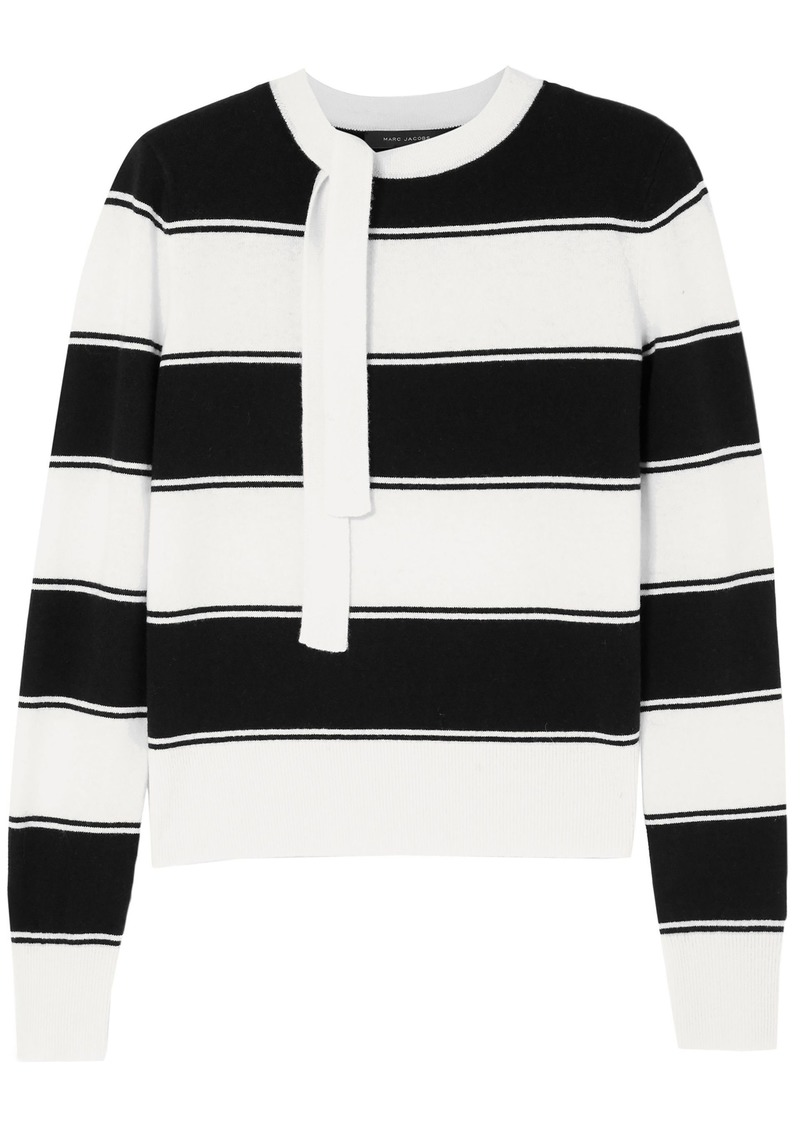 Marc Jacobs Woman Tie-neck Striped Wool Sweater Ivory