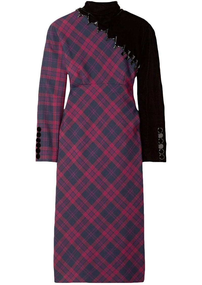 Marc Jacobs Woman Velvet-paneled Embellished Checked Wool Dress Violet
