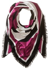 Marc Jacobs Women's Icon Flower Wool Shawl In Bright Blue Multi Berry