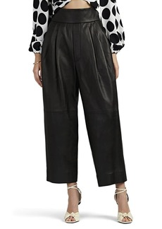 Marc Jacobs Women's Pleated Leather High-Rise Pants