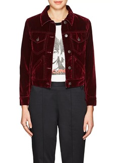 Marc Jacobs Women's Velvet-Flocked Cotton-Blend Denim Jacket