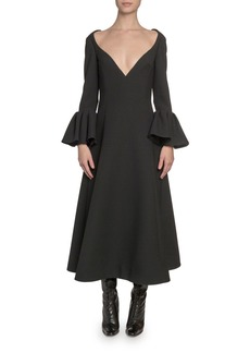 Marc Jacobs Wool Wide-Neck Bell-Cuff Dress