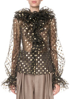 Marc Jacobs Metallic Dot Blouse with Ruffles