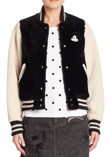 Marc Jacobs Mickey Lamb Shearling Varsity Jacket